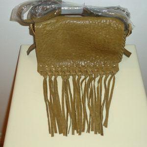 NWT Brian Atwood Leather Fringe Crossbody Bag